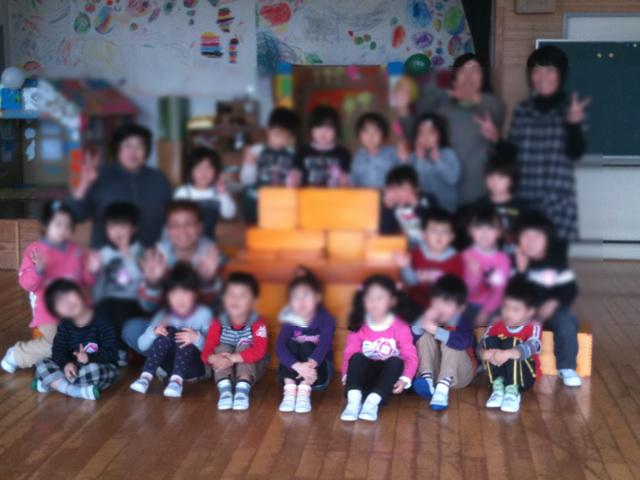 南相馬市立八沢幼稚園児と記念写真