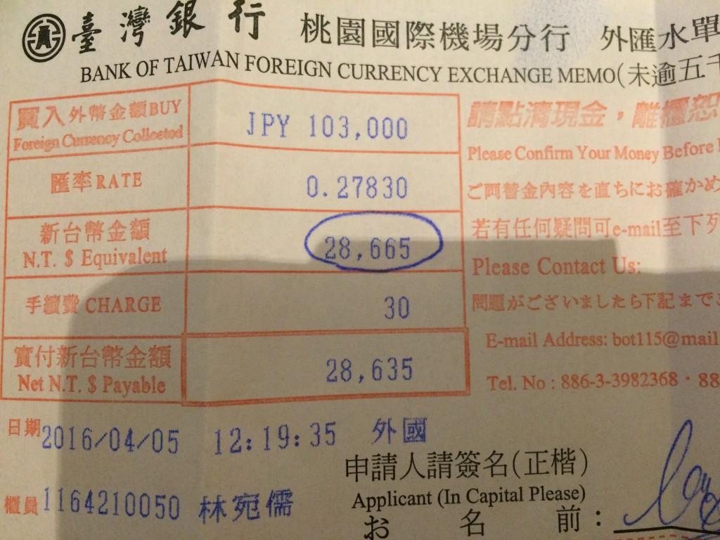 台南寄付両替計算書